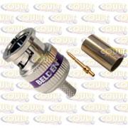 Conector BNC HD RG59 Belden 1855ABHD3 de 3 Peças de Crimp p/ Cabo SDI-HD Miniature Mini